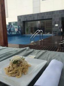 I had lunch at the hotel pool.
